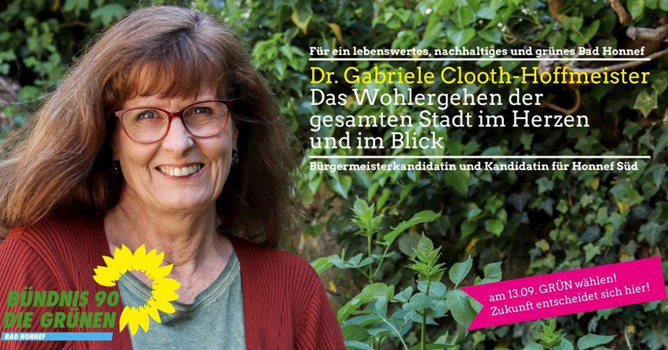 Dr. Gabriele Clooth-Hoffmeister, Bürgermeisterkandidatin, Direktkandidatin für Honnef Süd und Spitzenkandidatin der Grünen Bad Honnef🌻