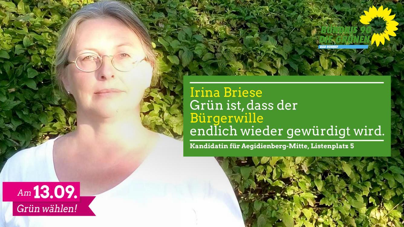 Irina Briese, Kandidatin für Aegidienberg Mitte und auf Listenplatz 5🌻